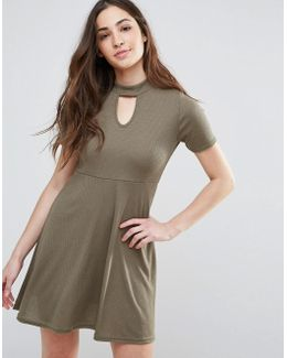 Skater Dress With Keyhole Front