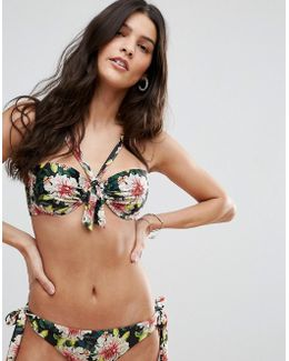 Angelic Floral Bunny Tie Front Moulded Bikini Top