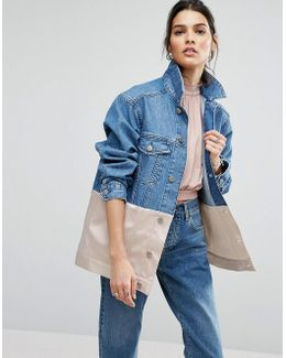 Denim Girlfriend Jacket With Pink Satin Edge