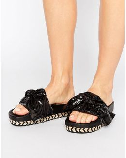Black Bow Slide Flat Sandals