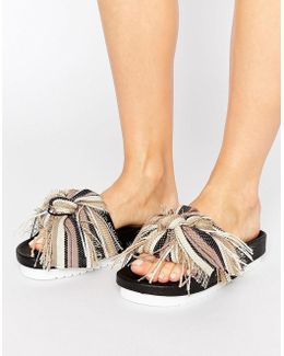 Taupe Multi Bow Slide Flat Sandals