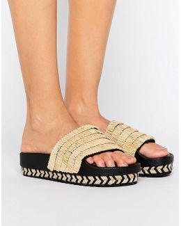 Natural Raffia Espadrille Slide Flat Sandals