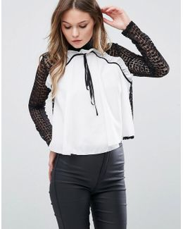 High Neck Lace Blouse With Frill Front