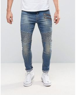 Super Skinny Jeans With Double Zip And Biker Details In Mid Blue Wash