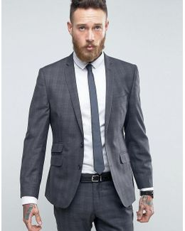 Slim Fit Suit Jacket In Gray Overcheck