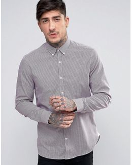 Slim Fit Shirt In Red Check