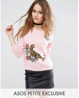 Tiger Jumper With Floral Embroidery