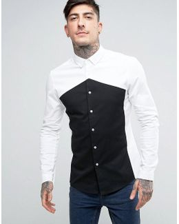 Skinny Fit Cut And Sew Monochrome Shirt