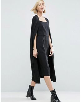 Textured Cape Detail Midi Dress