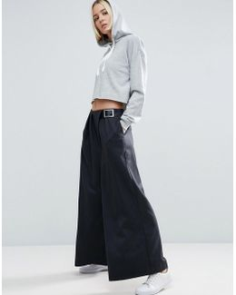 Wide Leg Trousers With Buckle Detail