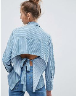 Denim Stripe Shirt With Long Cuff And Open Back