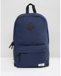 Backpack In Navy Canvas With Faux Leather Base