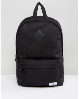 Backpack In Black Canvas With Faux Leather Base