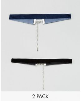 2 Pack Choker In Black And Indigo