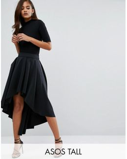 Scuba Midi Prom Skirt With Asymmetric High-low Hem