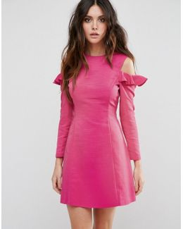 Cold Shoulder Structured Dress With Ruffle