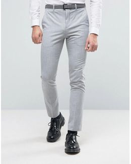 Super Skinny Suit Trousers In Pale Grey