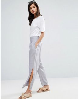 Raw Waist Band Textured Linen Trousers With Split