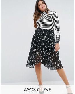 Pleated Midi Skirt With Wrap Front Detail In Floral Print