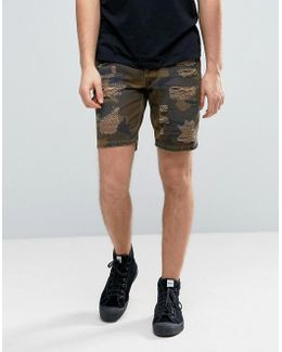 Slim Shorts With Rip And Repair Detail In Camo