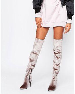 Velvet Over The Knee High Heeled Boot
