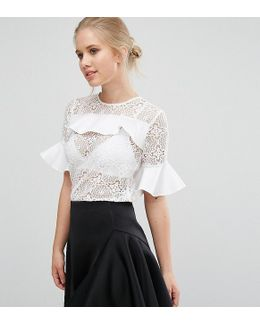 Closet Lace Blouse With Satin Ruffle Detail
