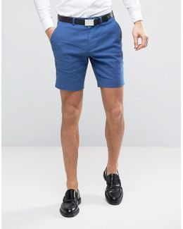 Wedding Super Skinny Suit Shorts In Mid Blue Stretch Linen Cotton