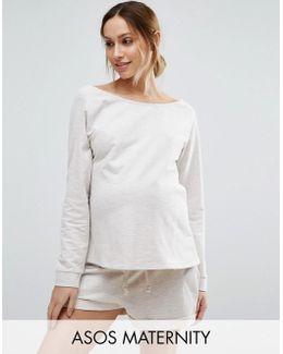 Tall Lounge Longline Oatmeal Marl Jersey Off Shoulder Sweatshirt