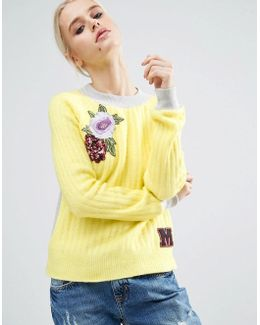 Jumper In Rib Knit With Badges