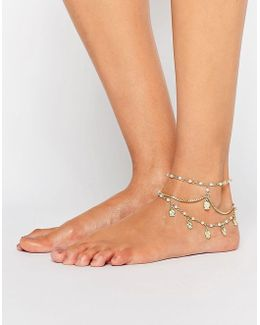 Multirow Faux Pearl & Charm Anklets