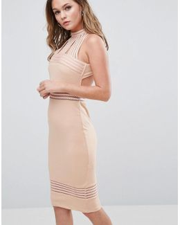 High Neck Midi Dress With Sheer Pannels