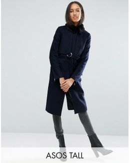 Coat With Faux Fur Collar And Belt In Wool Mix