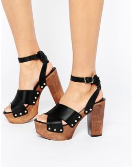 Touched Leather Heeled Sandals