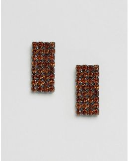 Jewel Rectangle Stud Earrings