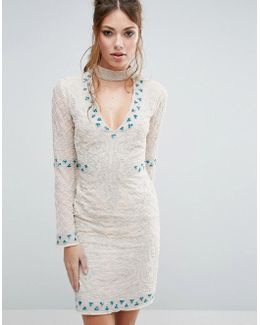 Choker Detail Embellished Mini Dress