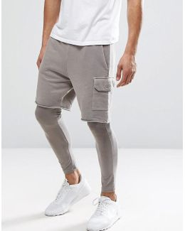 Jersey Cargo Shorts With Megging Underlayer