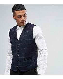 Slim Waistcoat In Wool Check