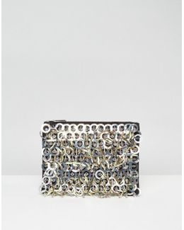 Ring Embellishment Zip Top Clutch Bag
