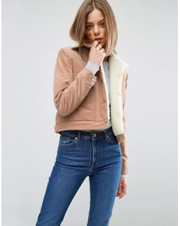 Crop Velveteen Jacket In Pale Pink With Borg Collar
