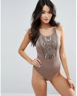 Bead Mirror Embellished Panel Swimsuit
