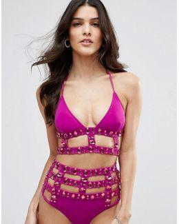 Glitz Jewel Embellished Caged Bikini Top