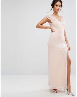 Maxi Dress With Eyelash Lace Sleeve And V Back