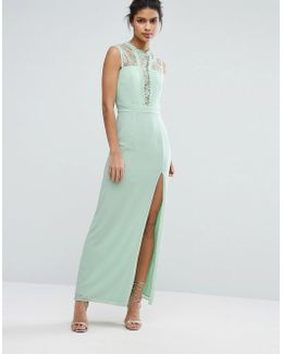 Sleeveless Maxi Dress With Contrast Lace Bodice