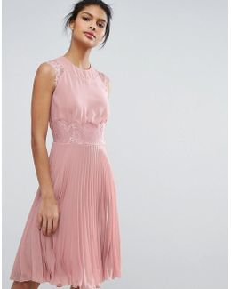 Pleated Midi Dress With Eyelash Lace Sleeves