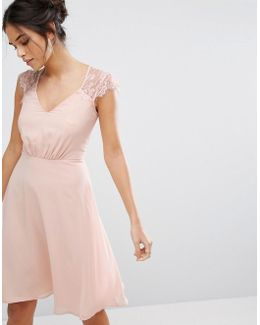 V Neck Midi Dress With Eyelash Lace Sleeve