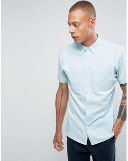 Shirt In Bleached Denim In Regular Fit