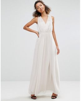 Pleated V Neck Maxi Dress
