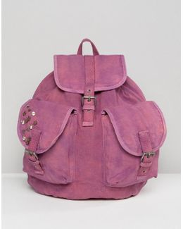 Oversized Canvas Acid Wash Backpack With Studs