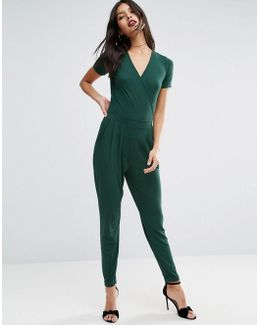 Wrap Front Jersey Jumpsuit With Short Sleeve
