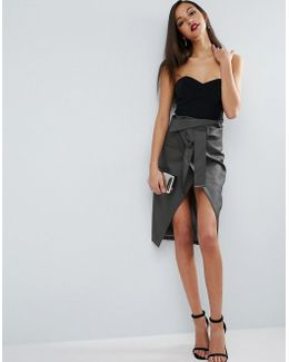 Pencil Skirt In Leather Look With Double Split And Self Belt
